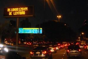Traffic jam in Marginal Pinheiros, Sao Paulo city